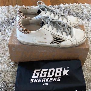Authentic Golden Goose White Leopard Zebra Sneaker